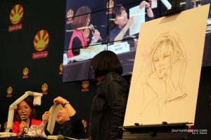 arumo Sanazakin dessinant lors de la conférence