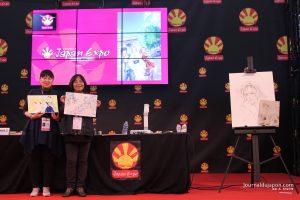 Yoko Hanabusa et Harumo Sanazaki exposant leurs dessins
